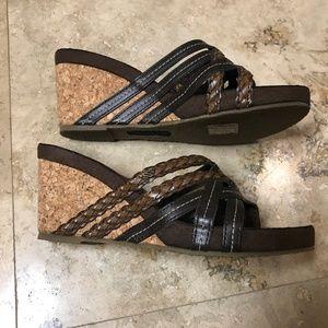 Skechers Wedge Heel Sandals with Cork Look Heel